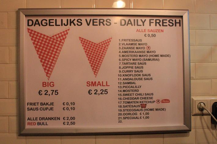Vlaamse friet fries menu amsterdam