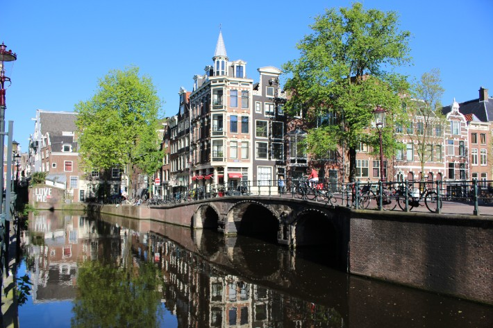 amsterdam bridge reflection summer