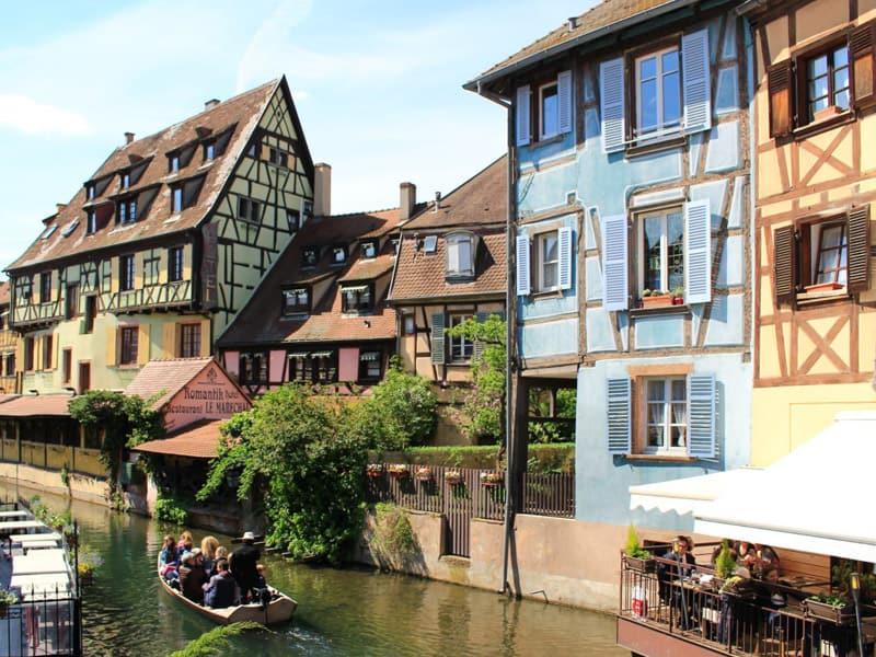 colmar france exterior decoration traditional half timbre building house river