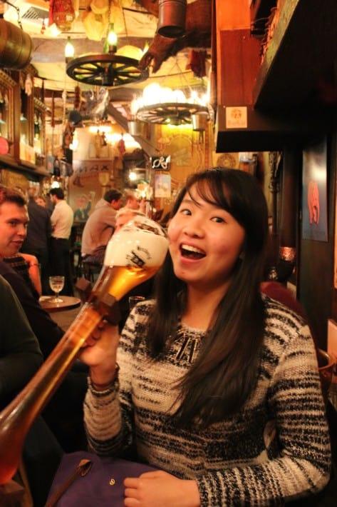 drinking Kwak beers, ghent belgium