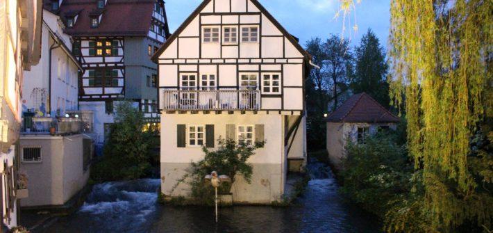 ulm, germany, house, river