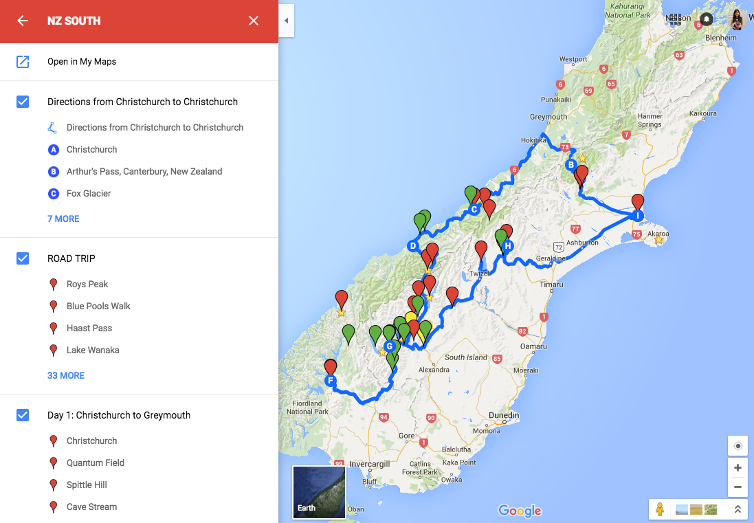 New zealand road trip map on google maps bel around the world new zealand road trip map on google maps gumiabroncs Gallery