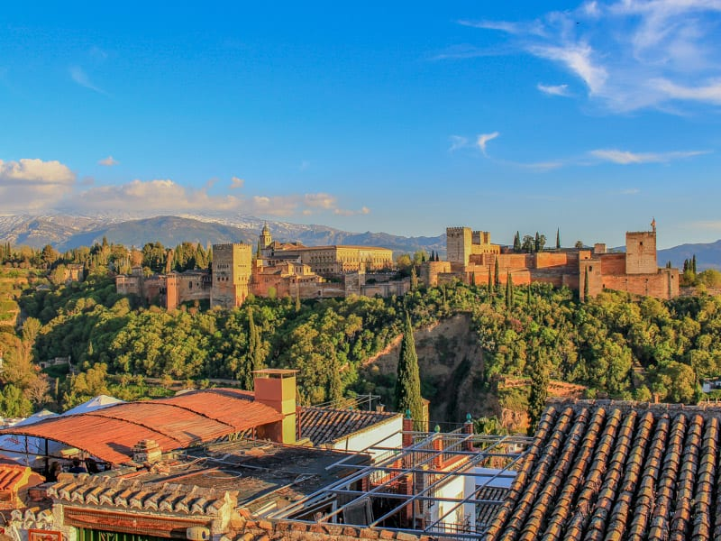 Albaycin Albayzin View of Alhambra Sunset Sunrise Granada Spain Europe History Old Town
