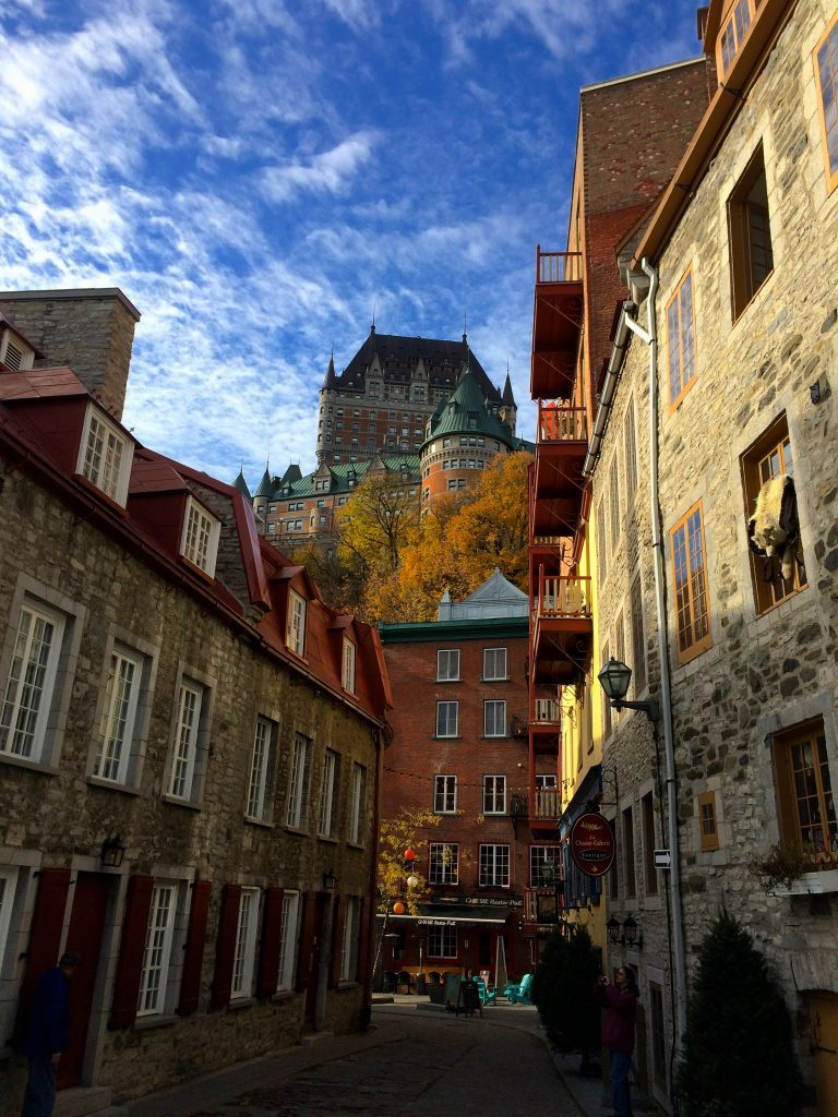 Frontenac Castle from the Petit Champlain in Québec City Bel Around The World