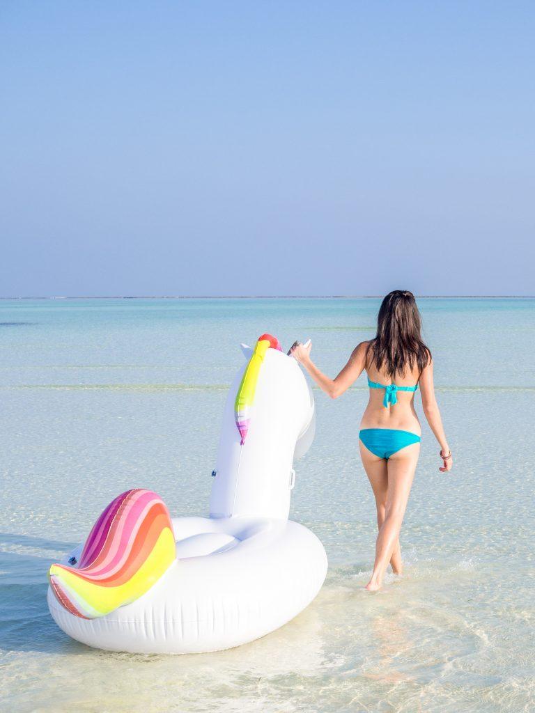 Maldives COMO Hotel Cocoa Island unicorn float
