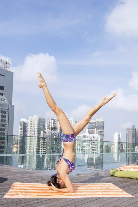 hotel jen orchardgateway singapore yoga girl pool bikini