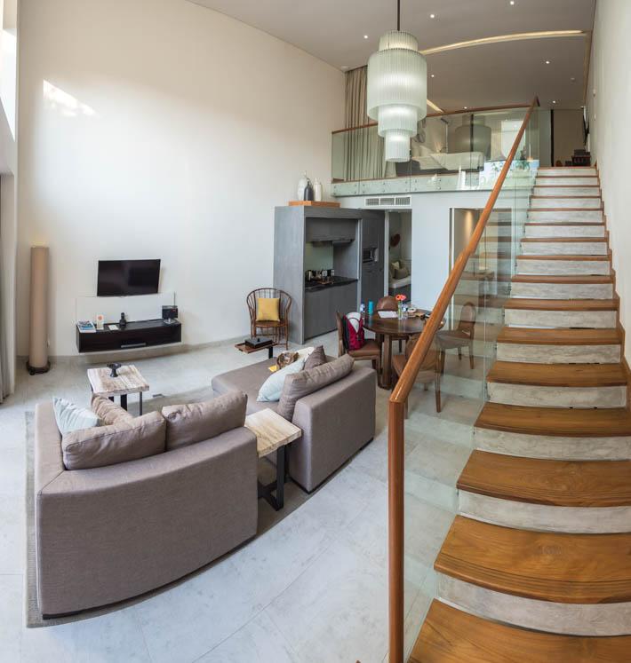 Hu'u Villas, Seminyak, Bali Loft Room living-room