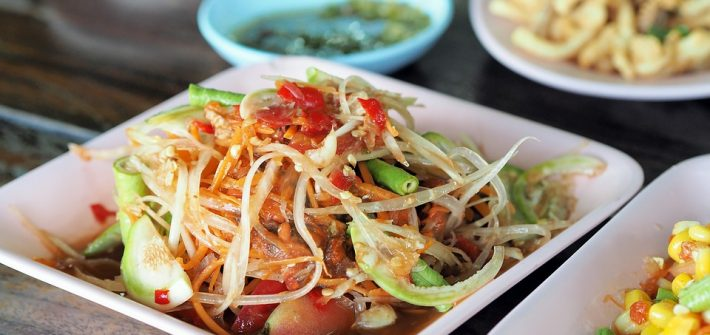 Thailand Food Isaan Food Papaya Salad Dining Table