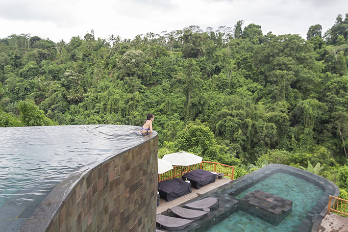 infinity pool girl, hanging gardens of bali ubud