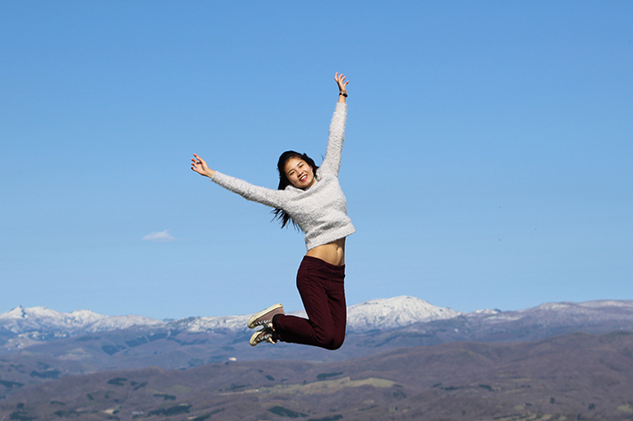 lake toya mount usu Observation Deck girl jump