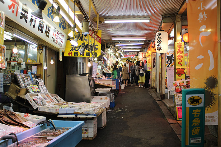otaru canal Sankaku Fish Market