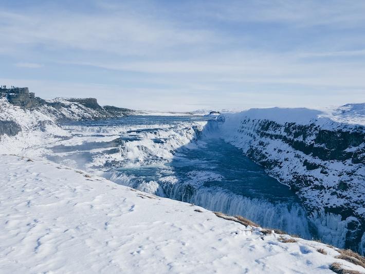 Gullfoss-Waterfall Iceland snow