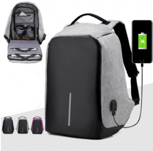 TRAVEL GIFTS Men External USB Charge Notebook Backpack Male Canvas Backpacks Fashion Anti-theft Laptop Bag Pack Large Capacity Casual Travel Rucksack Shoulder Bags (Black)