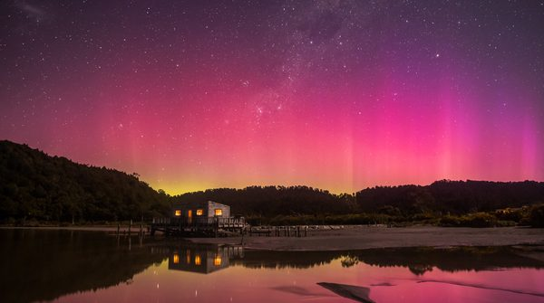 New Zealand's Southern Lights pink