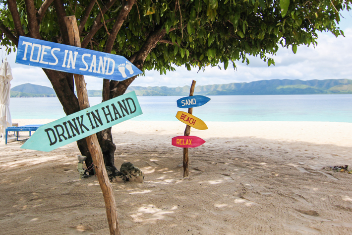 club paradise palawan coron beach signs