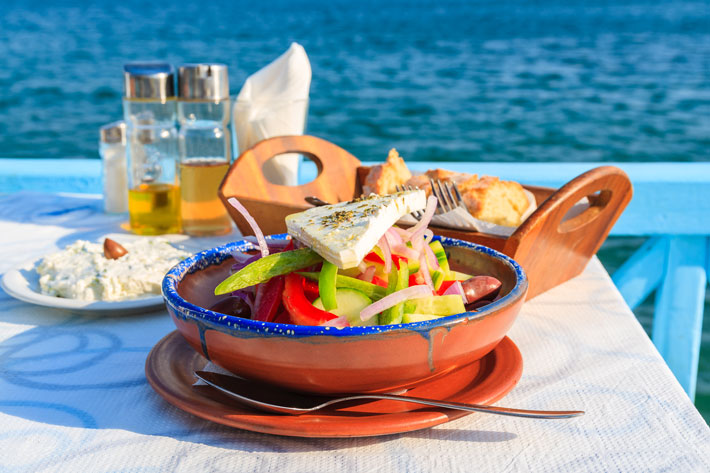 greece-greek-food-salad; best places to visit in greece in october
