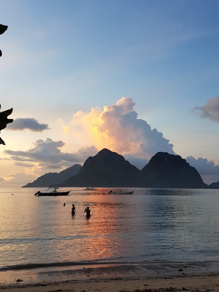 Las Cabanas beach, El Nido sunset copy