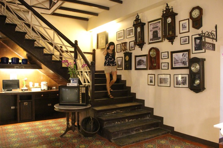 Phuket Old Town on on hotel antique stairs wood