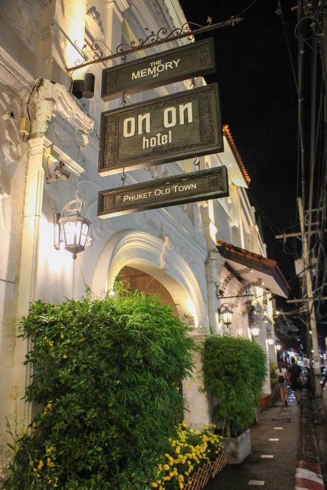 Phuket Old Town on on hotel sign
