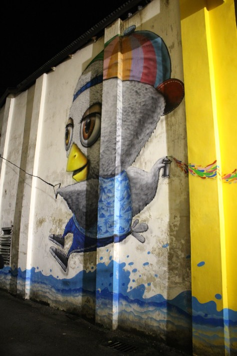 street art mural bird night Phuket Old Town