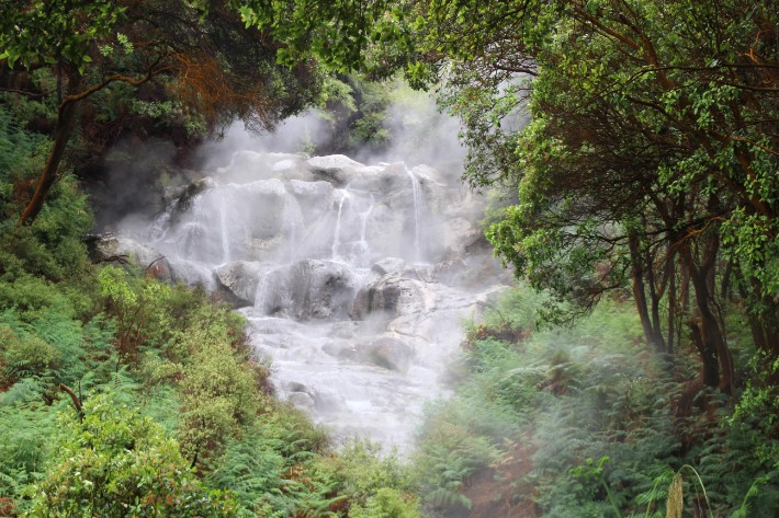 Kakahi Falls, Waimangu Valley, Rotorua, New Zealand. The largest hotwater fall in the Southern Hemisphere with an average temperature of 40 degrees