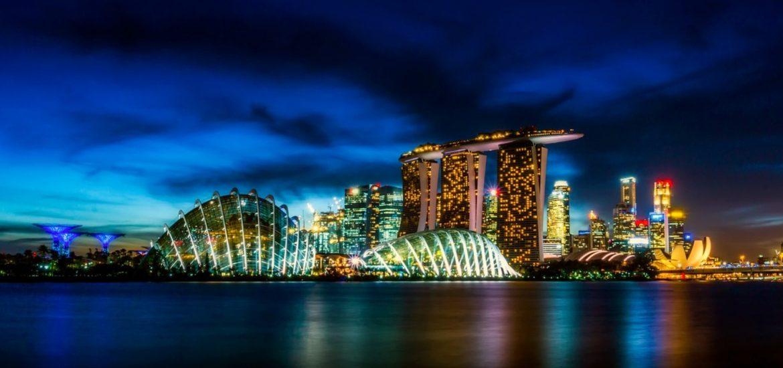 Singapore night city skyline