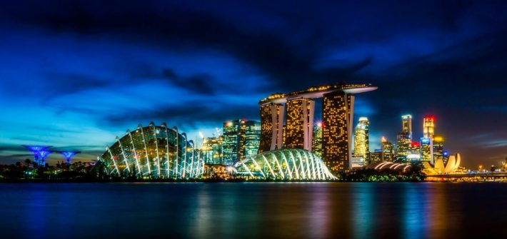 Singapore night city skyline