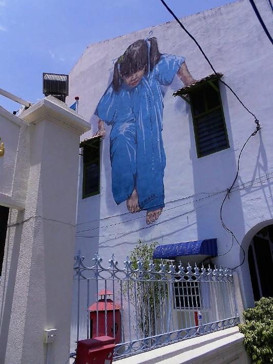 penang street art, Little Girl in Blue - Backpacking Bella