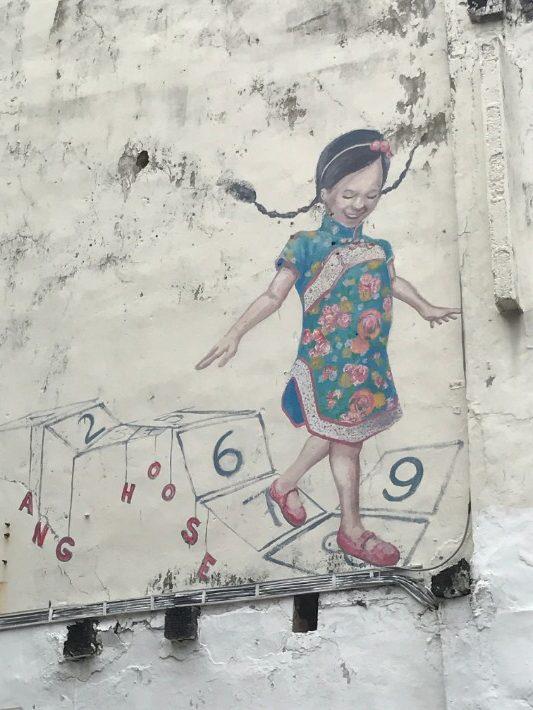 penang street art, Lucky Number Girl - Enchanted Vagabond