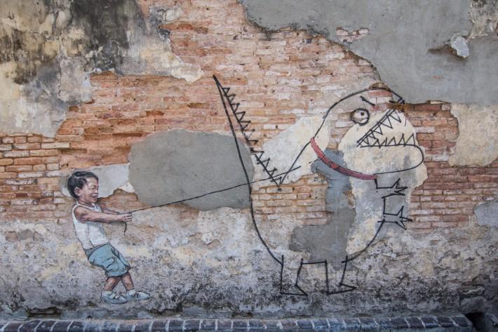penang street art, Pet dinosaur - Christine Abroad