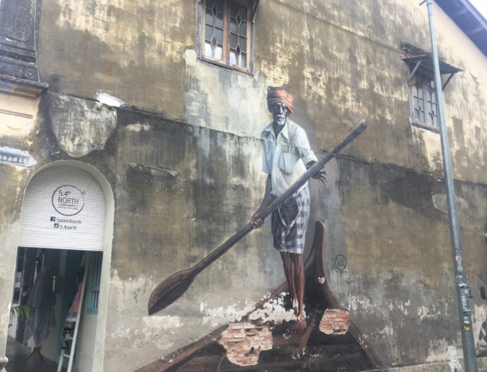 penang street art, The Indian Boatman - Temples and Treehouses