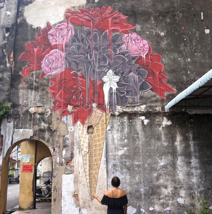 penang street art, ice cream cone melting flowers - MissFilatelista