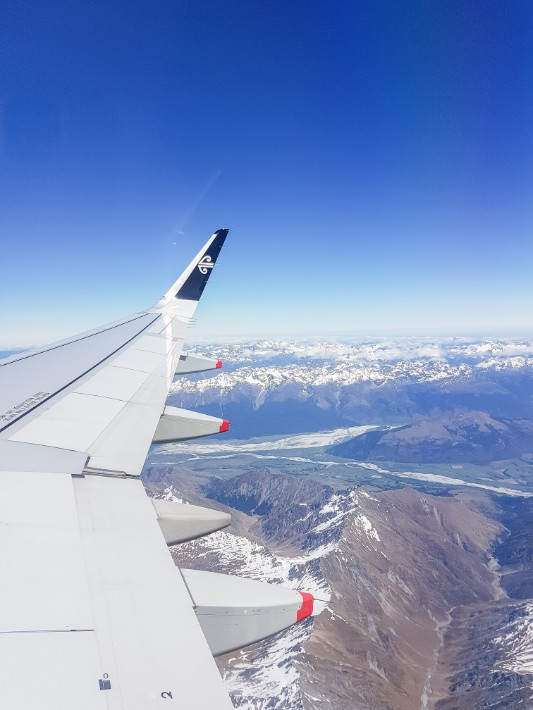 air new zealand flight view from plane town