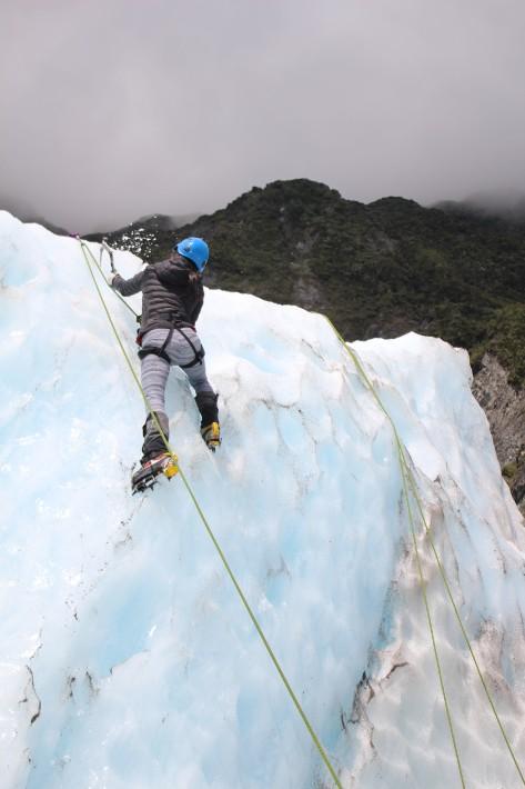 ice climbing girl fox glacier new zealand Bel Around The World