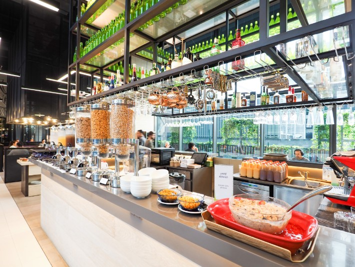 breakfast buffet pastry salad, yotel singapore hotel review
