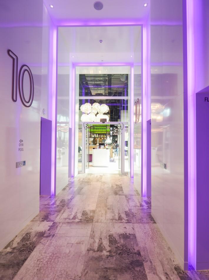 lift lobby, yotel singapore hotel review
