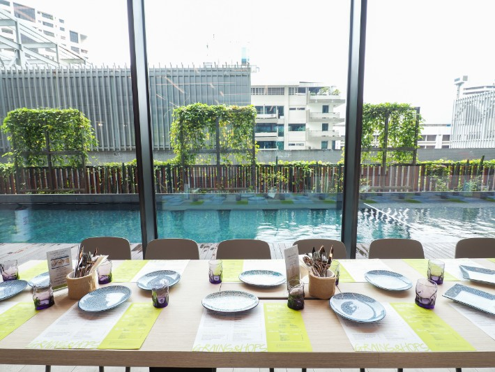 view of pool from restaurant, yotel singapore hotel review
