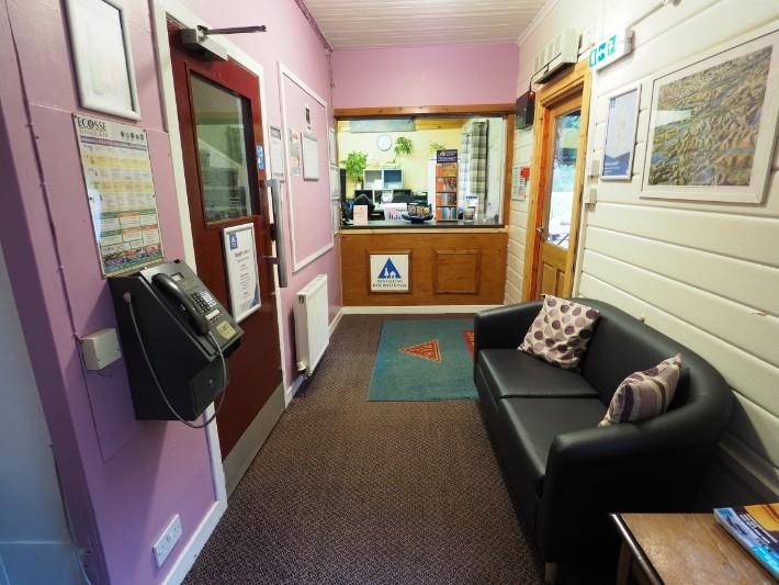 glencoe hostel reception, hostelling scotland, scotland itinerary