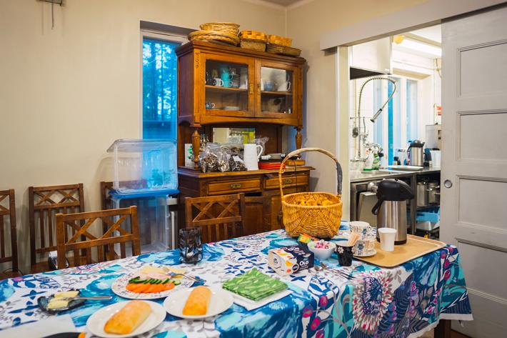 breakfast spread, green window Nuuksio National Park