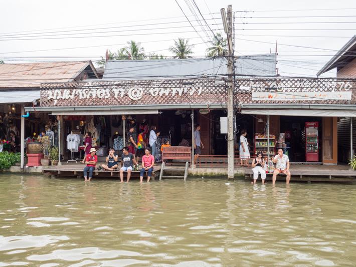 eating along canal, Day trips from Bangkok -Amphawa Floating Market, Maeklong Railway Market, Ban Bang Phlap