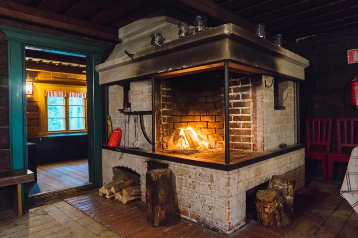 fireplace, green window Nuuksio National Park