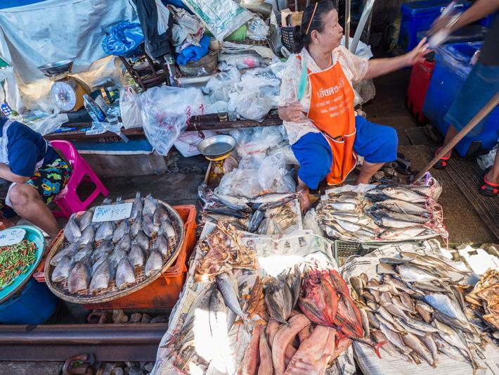 fish stall maeklong railway market, Day trips from Bangkok -Amphawa Floating Market, Maeklong Railway Market, Ban Bang Phlap