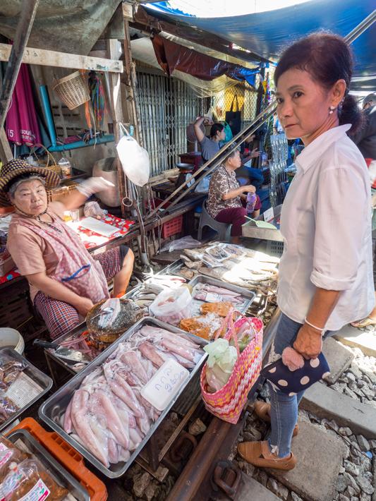 fish vendor maeklong railway market, Day trips from Bangkok -Amphawa Floating Market, Maeklong Railway Market, Ban Bang Phlap