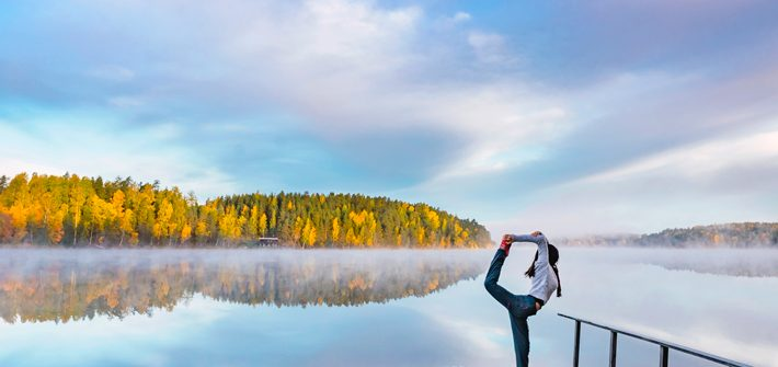 girl yoga, lake, sunrise, Nuuksio National Park