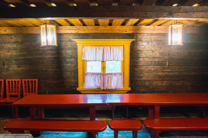 inside wood cabin, winter Nuuksio National Park