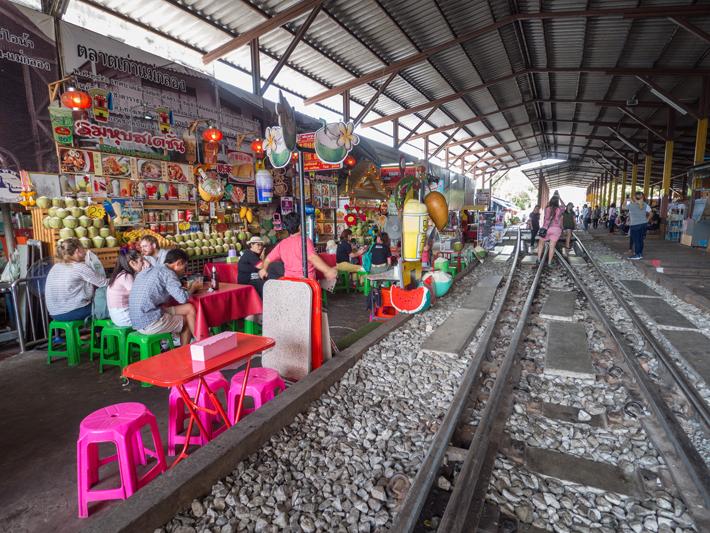 maeklong station food stalls, Day trips from Bangkok -Amphawa Floating Market, Maeklong Railway Market, Ban Bang Phlap