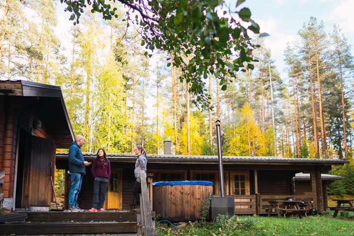 sauna by the lake, green window Nuuksio National Park
