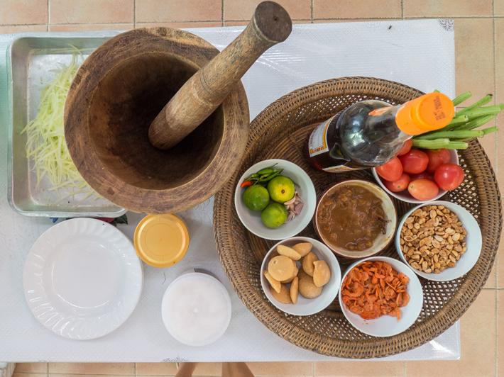 thai cooking papaya salad, Day trips from Bangkok -Amphawa Floating Market, Maeklong Railway Market, Ban Bang Phlap