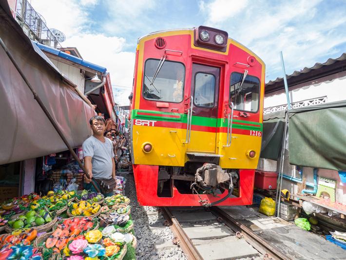 train, Day trips from Bangkok -Amphawa Floating Market, Maeklong Railway Market, Ban Bang Phlap