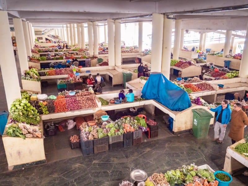 Centenary Farmers' Market, wet market section, bhutan